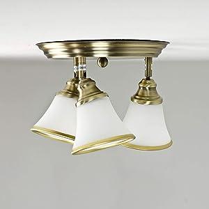 decorativo lampada da soffitto plafoniera da bagno in bronzo/3X E14IP20/lampada da soffitto in stile Liberty/Spot Regolabile.
