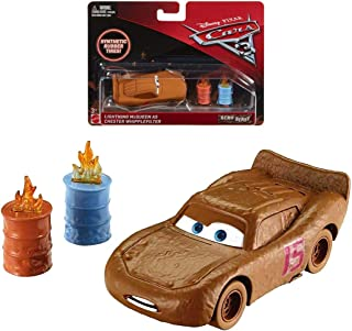 Cars Diecast Lightning McQueen as Chester Whipplefilter Demo Derby with Synthetic Rubber Tires Disney 1:55 Scale