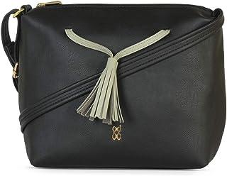 Baggit Autumn/Winter 2021 Faux Leather Women's Saddle Handbag (Black) (Mane)