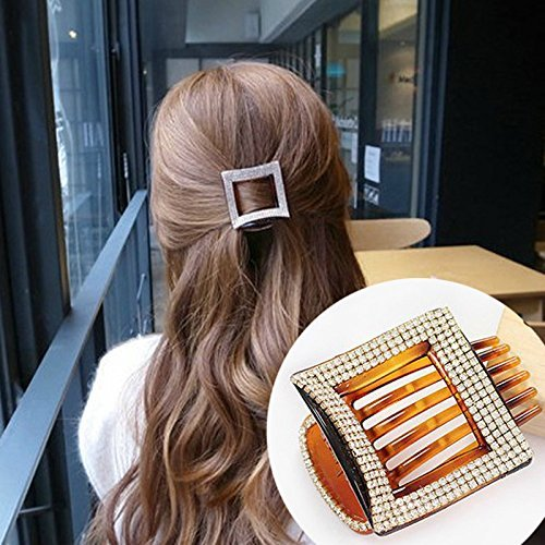 AKOAK 1 Pcs Beauty Square Hair Clip Acrylic Rhinestone Hair Clip for Women Hair Claw Clip(Brown)