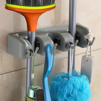 Ontime Mop and Broom Holder, Multipurpose Wall Mounted Organizer Storage Hooks, Ideal Broom Hanger for Kitchen Garden and Garage (3 Slot) (Silver)