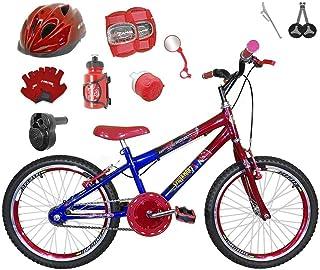 4b2b14181 Bicicleta Infantil Aro 20 Azul Vermelha Kit E Roda Aero Vermelha C Capacete