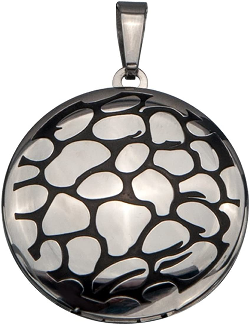 INOX Jewelry Women's Round Locket Pendant Pebble Necklace