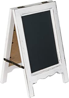 15 inch Mini Tabletop Wooden A-Frame Double-Sided Slate Chalkboard Sign Easel for Business (White)