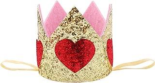 Minkissy Glitter Baby Birthday Crown Heart Tiara Headband Princess Baby Kids Photo Prop Hair Band Headdress for Girls Toddlers Children (Red)