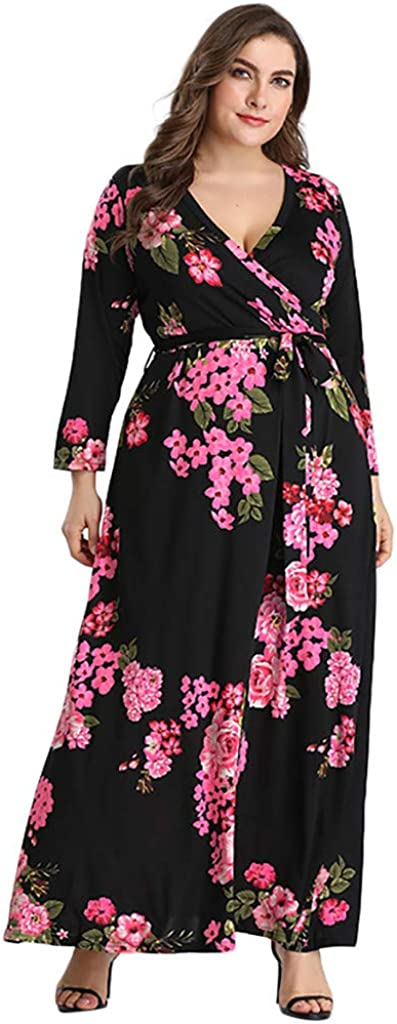 Women's High quality new Floral Maxi Dress V-Neck Holida Sleeve Ladies Max 58% OFF Long