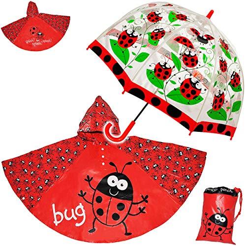alles-meine.de GmbH 3 TLG. Set: Regenschirm + Regenponcho / Regencape - Marienkäfer - Gr. 104 - 128 / 3 bis 6 Jahre - Kinderschirm transparent - Kinder Stockschirm Regenschirm - ..