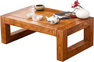 C-J-Xin Solid Wood Coffee Table, Single Layer Multifunctional Sofa Table Retro Style Tea Table Home Balcony Book Room Desk Living Room Furniture (Color : 80 * 50 * 30CM)