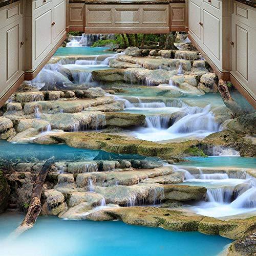 Große 3D-Bodentapete 3D-Wand-PVC-Naturlandschaft des fließenden Wasserfalls Bodenaufkleber Wohnzimmer Schlafzimmer Restaurant 200x140cm