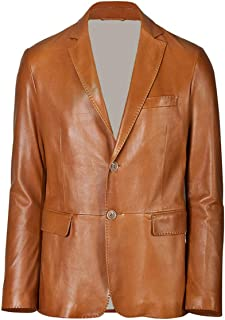 brandMe Men's Leather Two Button Blazer Genuine Soft Lambskin Leather Coat Jacket BB25