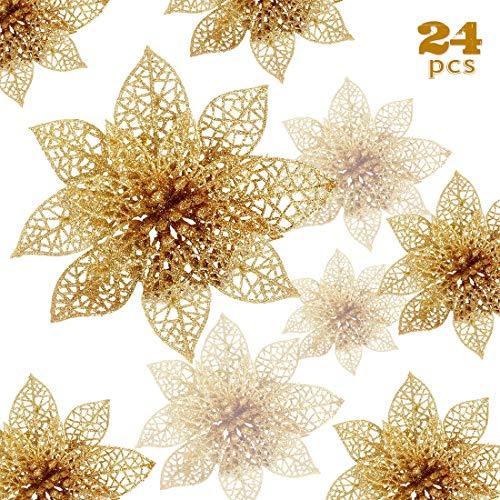Zaloife Weihnachten Blumen, 24 Glitter Weihnachtsblumen, Hohle Glitzer Weihnachtsblume, Poinsettia Weihnachtsbaum Künstliche Blumen Dekor Ornament, Dekoration für Hochzeit, Party, Weihnachten (Gold)