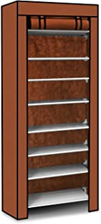TeqHome 10-Tier Portable Shoe Tower Rack 27-Pair Space Saving Shoe Storage Organizer,Shoe Tower Cabinet,Shoe Shelves with Dustproof Cover(Brown)
