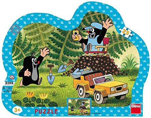 Dinotoys 311312 25 Stück hochwertiger Schreibtisch Puzzles mit RahmenKleines Maulwurf-Motiv