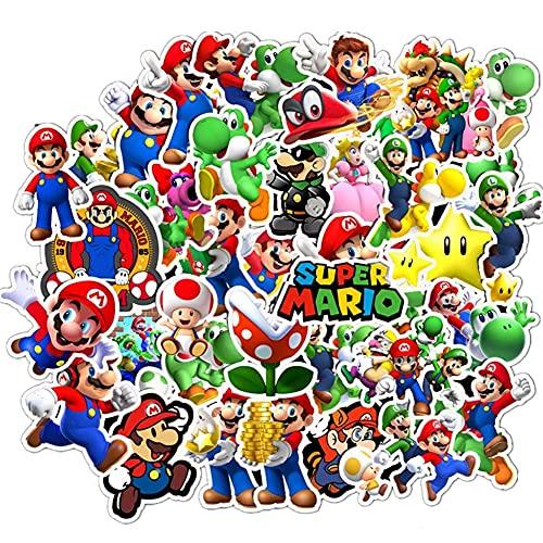 CYSJ 100 Piezas Pegatinas de Super Mario Anime Impermeables para Portátil Vinilo Graffiti Calcomanías para Niños DIY Equipaje Portátil Dormitorio Funda de Viaje