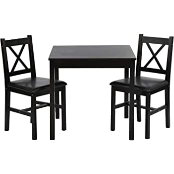Amazon Com Fdw Dining Kitchen Table Dining Set 3 Piece Wood In Door Square Small Farmhouse Dining Room Table Set Table And Chair For 2 Person Dark Brown Table Chair Sets