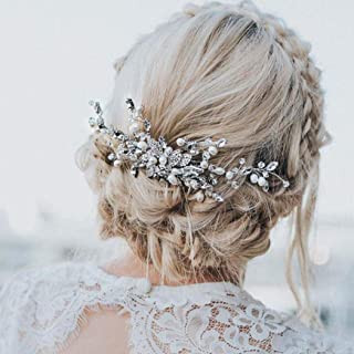 Catery Butterfly Wedding Hair Comb Hair Accessories with Crystal Pearl Bride Side Combs for Women and Girls (Silver)