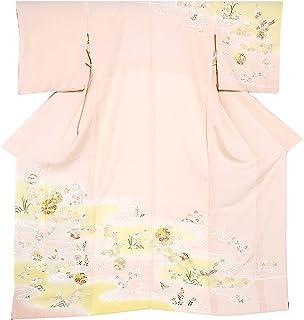 [ 京都きもの町 ] お仕立て上がり高級プレタ訪問着単品「薄ピンク色 流水に雪輪草花」居敷き当て付き礼装正絹訪問着