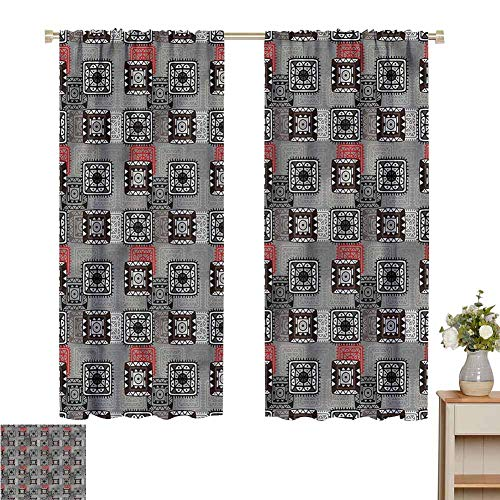Wear Pole Curtains Kids Room Curtains Aztec Ornament Lace Multifunctional Power Off Curtain Set of 2 Panels W72 x L62