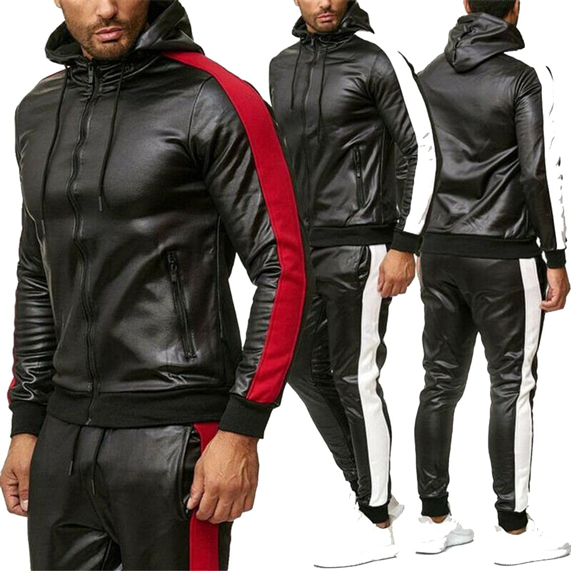 Max 68% OFF Men's Genuine Sheepskin sale Leather Jacket Jogging Trouser Tracksuit