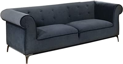 Benjara, Gray Welted Trim Fabric Upholstered Wooden Sofa with Rolled Armrest