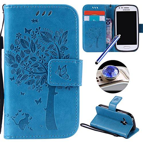 Etsue Handytasche für Samsung Galaxy S3 Mini Brieftasche Hülle Bookstyle Schutzhülle Lederhülle Handyhülle Leder Flip Hülle Vintage Flip Wallet Case Cover Ledertasche Schutz Hülle,Katze Baum