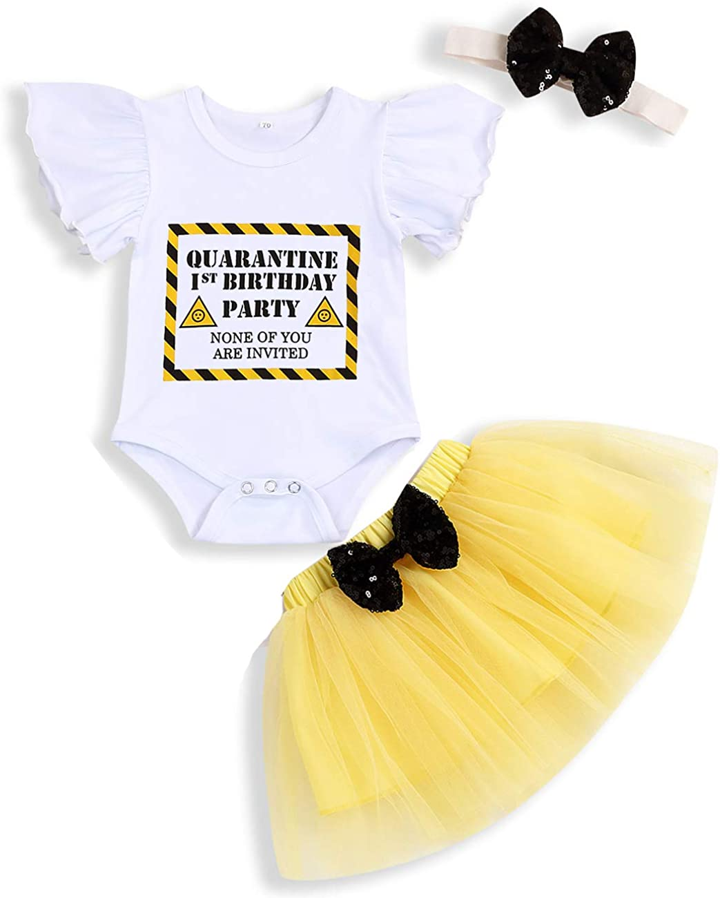 Sinhoon Quarantine 1st Birthday Outfit Baby Girl Sleeve Romper Tutu Skirt Headband Cake Smash Clothes