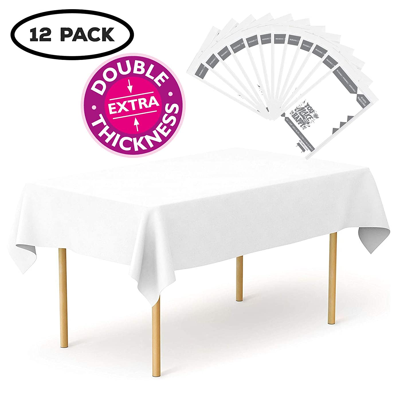 枠不満指令YouMakeMeHappy プラスチックテーブルクロス 12枚パック 長方形 円形 12 Pack Rectangle 54