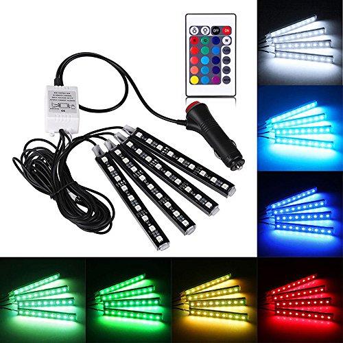 LED Voiture Eclairage Intérieur Super PDR 4 en 1 LED RGB Lampe Intérieur de Voitures Télécommande sans Fil Ruban Bande Néons Lumière Kit Multicolor pour Décoration Atmosphère Auto avec Allume-Cigare 12V