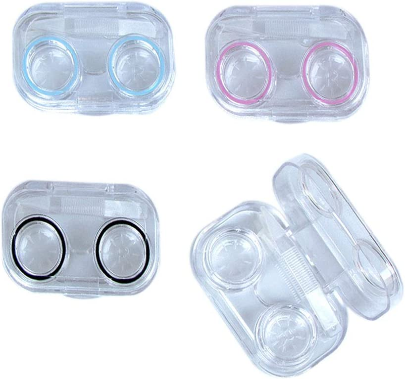 KISEER 4 Pcs Mini Clear Flip Top Lens Contact Kit Case Max 75% OFF Special price for a limited time Travel Co