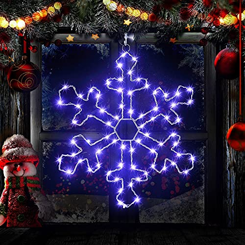 Christmas Window Silhouette Lights, 70 LEDs Cool White Snowflake Lights, 11.8 Inches Giant Snowflake Lighted Decorations with Remote Timer USB Powered