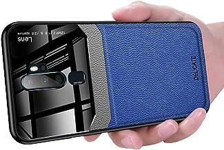 OPPO A5 2020 Case, Ikwcase Business Slim Litchi Skin Anti-slip TPU Bumper Hybrid Glass Lens Protective Case Cover for OPPO A5 2020 Blue