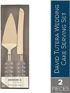 David Tutera Crystalline Handle Wedding Cake Gold Metal Serving Set