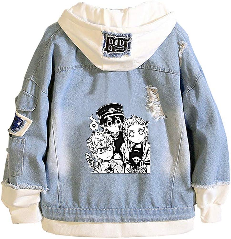 Chaquetas De Moda Juvenil para Hombres Y Mujeres Sudadera Pullover Sudadera con Capucha Suéter Casual Abrigo con Sombrero Y Botones Cerrados Toilet-Bound Hanako-Kun