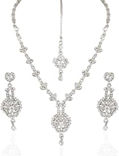 I Jewels Cocktail Rodium Plated Stone Necklace Set with Maang Tikka for Women