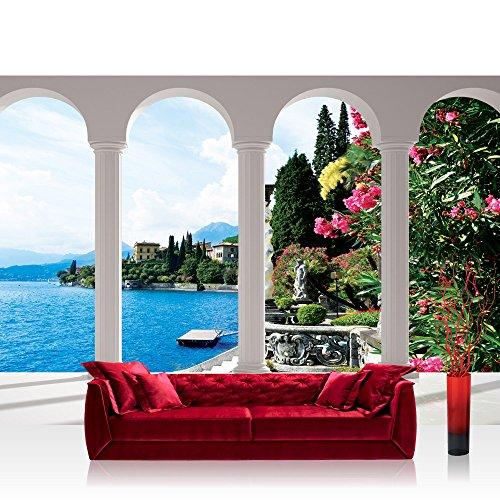 Vlies Fototapete 152.5x104cm PREMIUM PLUS Wand Foto Tapete Wand Bild Vliestapete - Italien Tapete Säulen Himmel Blumen Gadersee Italien weiß - no. 2252