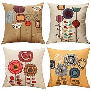Gspirit Almohada de Pareja Funda cojin Dibujos Animados Flores Patrón Decorativo algodón Lino cojín Cubierta Almohada… | DeHippies.com