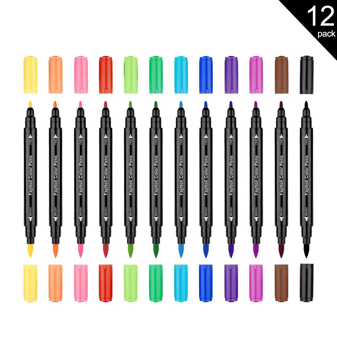 Fayttoli 12 colores rotuladores para colorear - rotuladores de doble punta - para adultos libro para colorear, dibujo, caligrafía, manga: Amazon.es: Hogar
