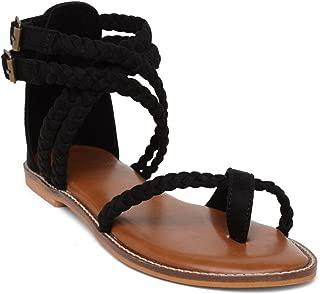 KANABIS Women's Boho Braids-Black… Fashion Sandals