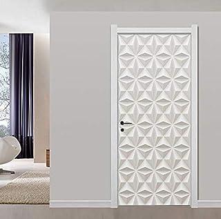 Autocollants de porte décalcomanies blanc plâtre Texture motif peintures murales papier peint moderne Simple salon décor à...