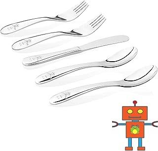 Kiddobloom Kids Stainless Steel Utensils or Flatware Set (Set of 5, Robot Flatware)