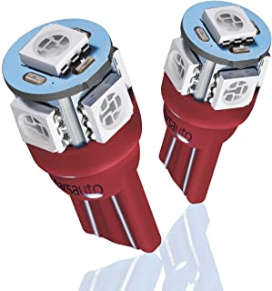 Marsauto 194 168 T10 2825 Red LED Light Bulbs for Car Dome Map Door Courtesy License Plate Lights