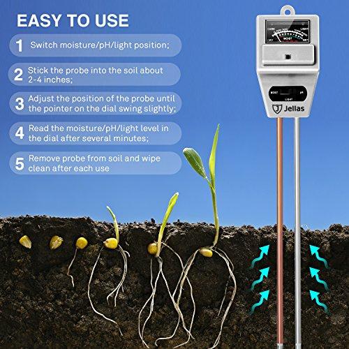 Jellas 3-in-1 Soil Moisture Meter pH meter
