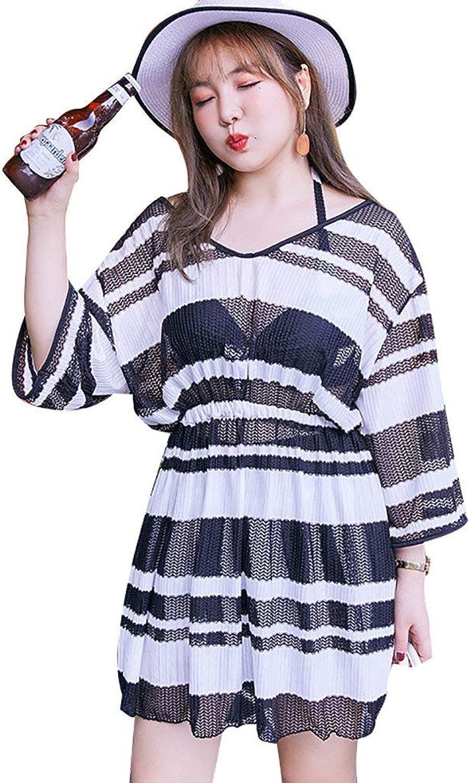 Women V Neck Halter Split Swimsuit,Ladies Plus Size Swimwear,Mesh See Through Style Beachwear,Black and White Stripes,XXL