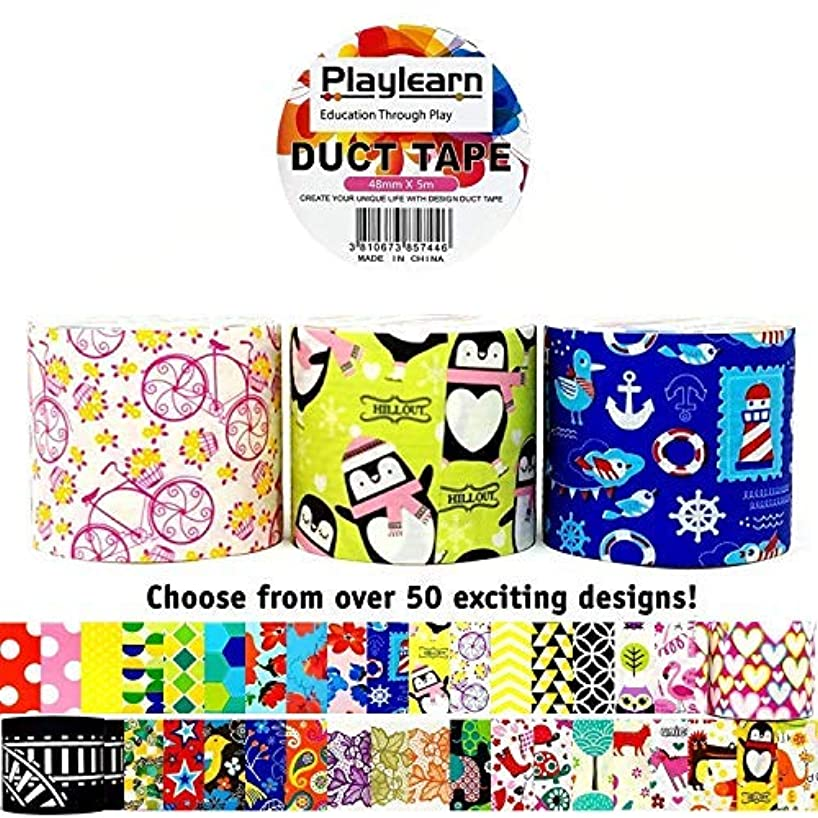 Design Duct Tape 48mm x 16 Feet - Kids Fun Extra Strong Printed Arts & Crafts Multi Pack - by Playlearn (Classroom Set)