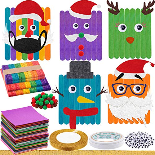 484 Pieces Christmas Crafts Ornaments Kit for Xmas Wooden Art Painting Crafts Hanging to Make Your Own Christmas Tree Ornaments for Party Present, School Game Supply, DIY Christmas Tree Decoration