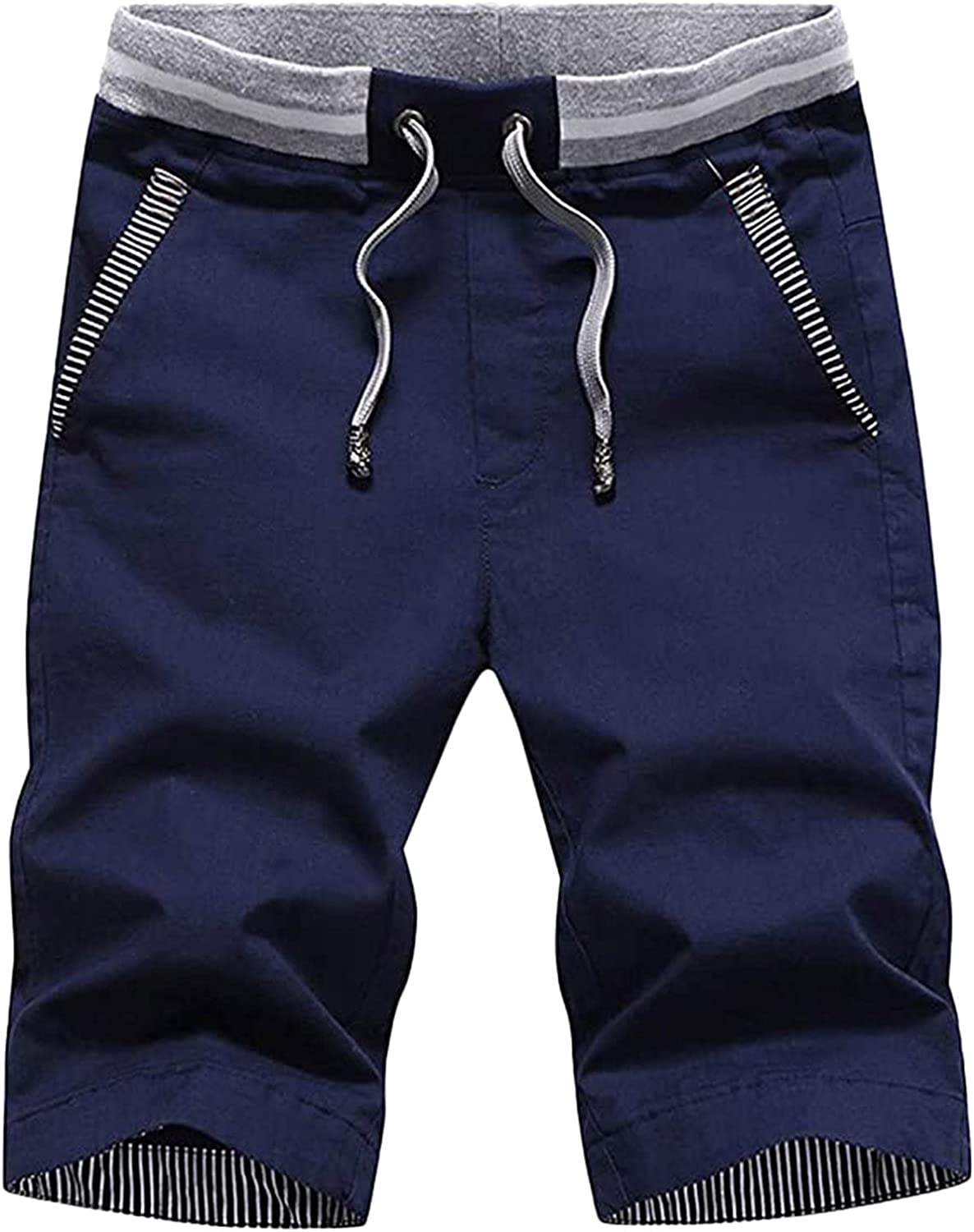 FUNEY Men's Cargo Shorts Elastic Waist Drawstring Cotton Casual Comfy Workout Outdoor Lightweight Shorts with Multi Pockets