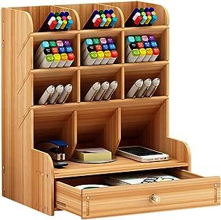 Pen Holders,Pen Holder for Desk,Penpal Pen Holder,Desk Pen Holder,Office Desk Organizer Desktop Pen Pencil Holder Container Storage Box Portable with Drawer