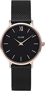 CLUSE Minuit Mesh Rose Gold Black Black CL30064 Women's Watch 33mm Stainless Steel Bracelet Minimalistic Design Casual Dress Japanese Quartz Elegant Timepiece
