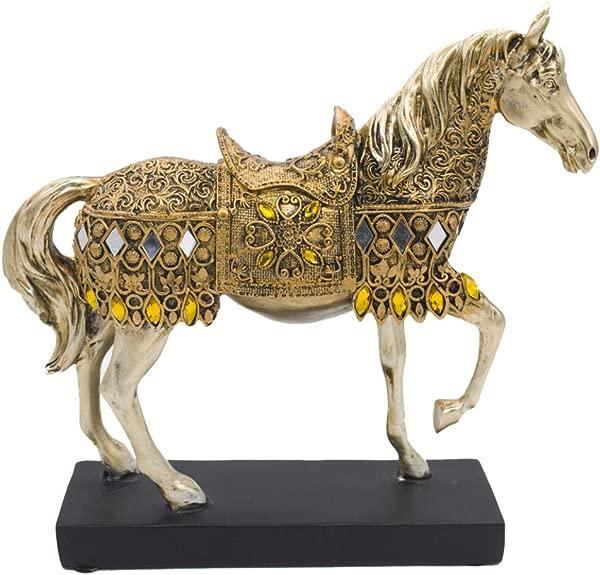JDSHSO 现代创意树脂工艺品金色步行马人像优雅马雕塑家居桌面装饰礼物