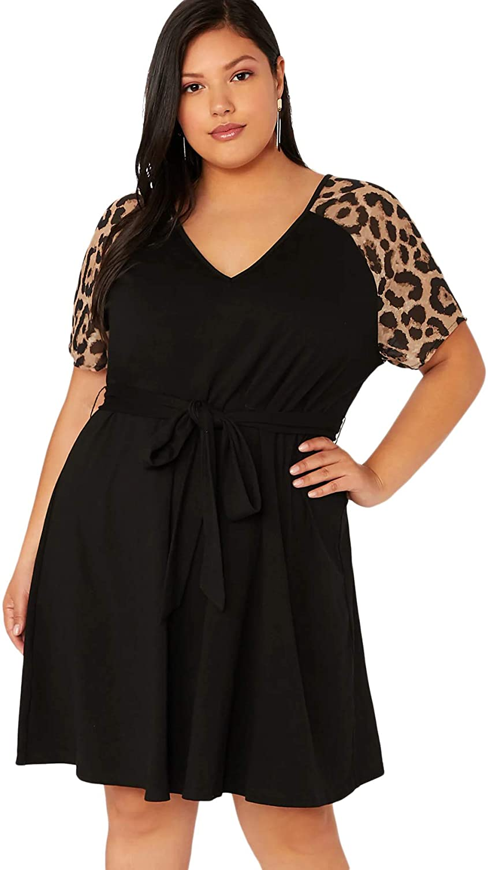 Romwe Women's Plus Size Short Sleeve Leopard Print Belted Casual Tunic Midi Dress